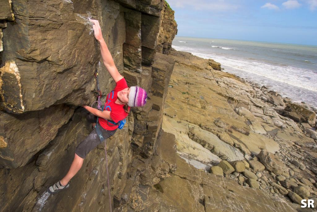 Climbing at Telpyn, nr Amroth.