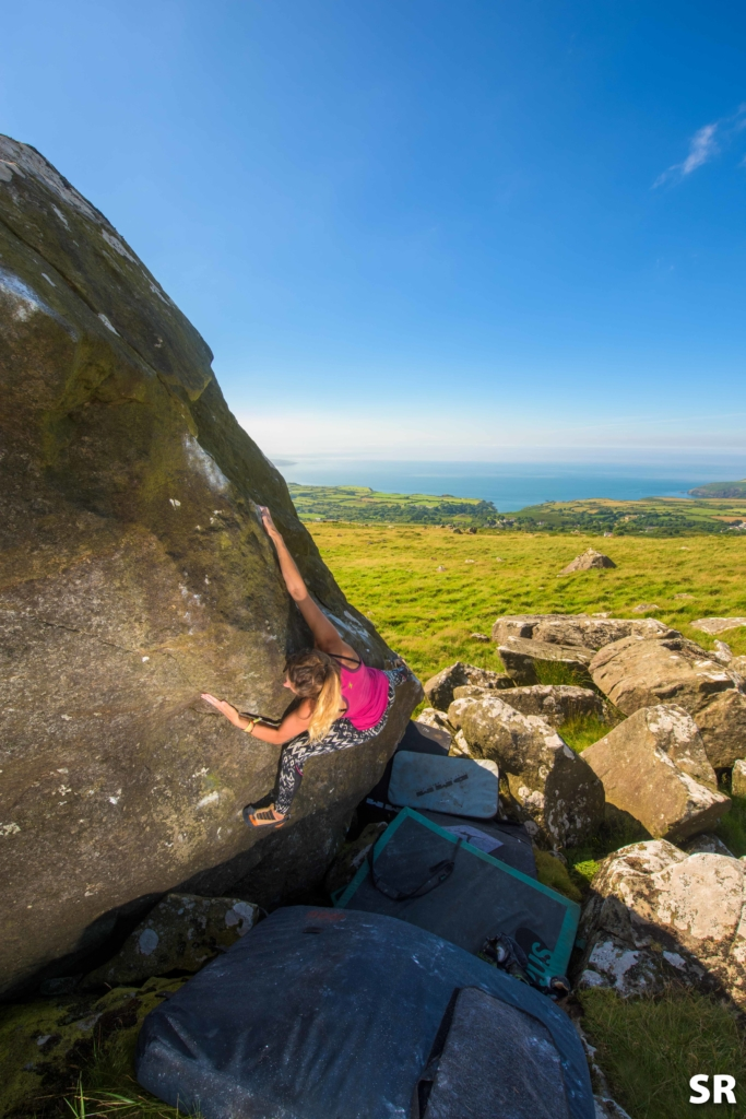 Rho climbing at Mynydd Dinas on possibly a new font 7a 'The Mauler'